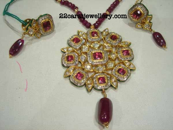 Ruby beads long chain with diamond pendant set 3 jewellery designs checkout beautiful ruby beads long chain with alternate gold bits and attached with pendante pendant studded with diamonds and ruby stones and ruby beads aloadofball Image collections