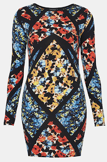 TOPSHOP Floral Print Body-Con Dress