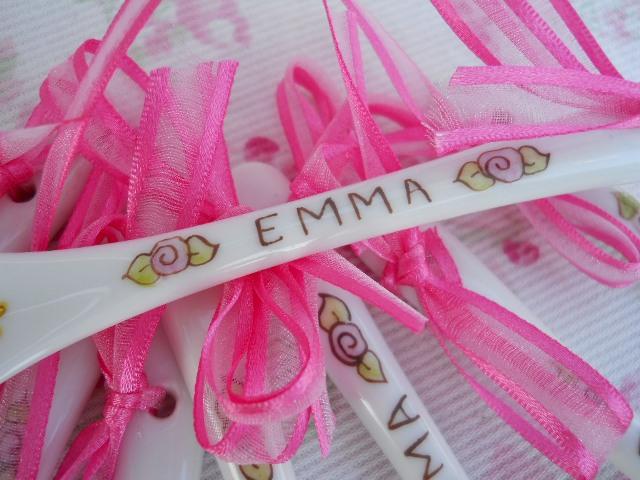 Cucharitas De Pocelana Pintadas A Mano Para El Bautismo De Emma
