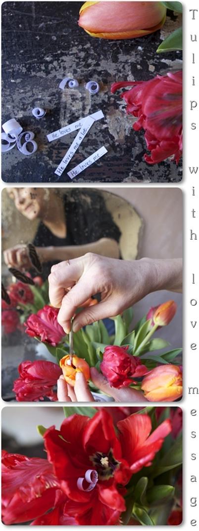 blommor till alla hjärtans dag, tulpaner med kärlekslapp, romantiska blommor