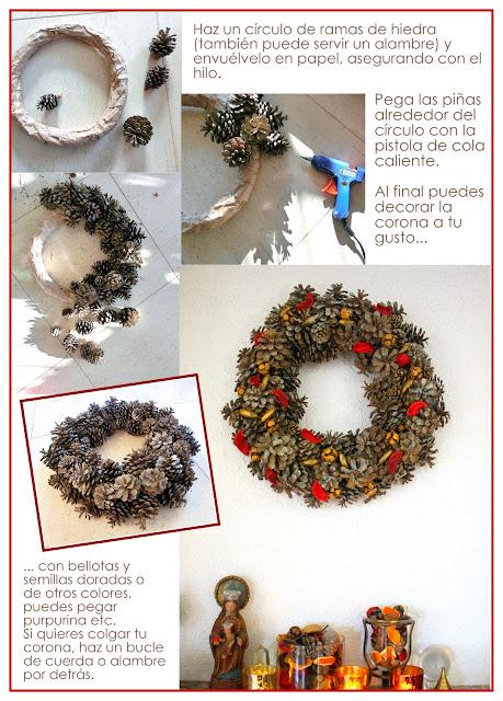 DIY navideño corona con piñas naturales paso a paso