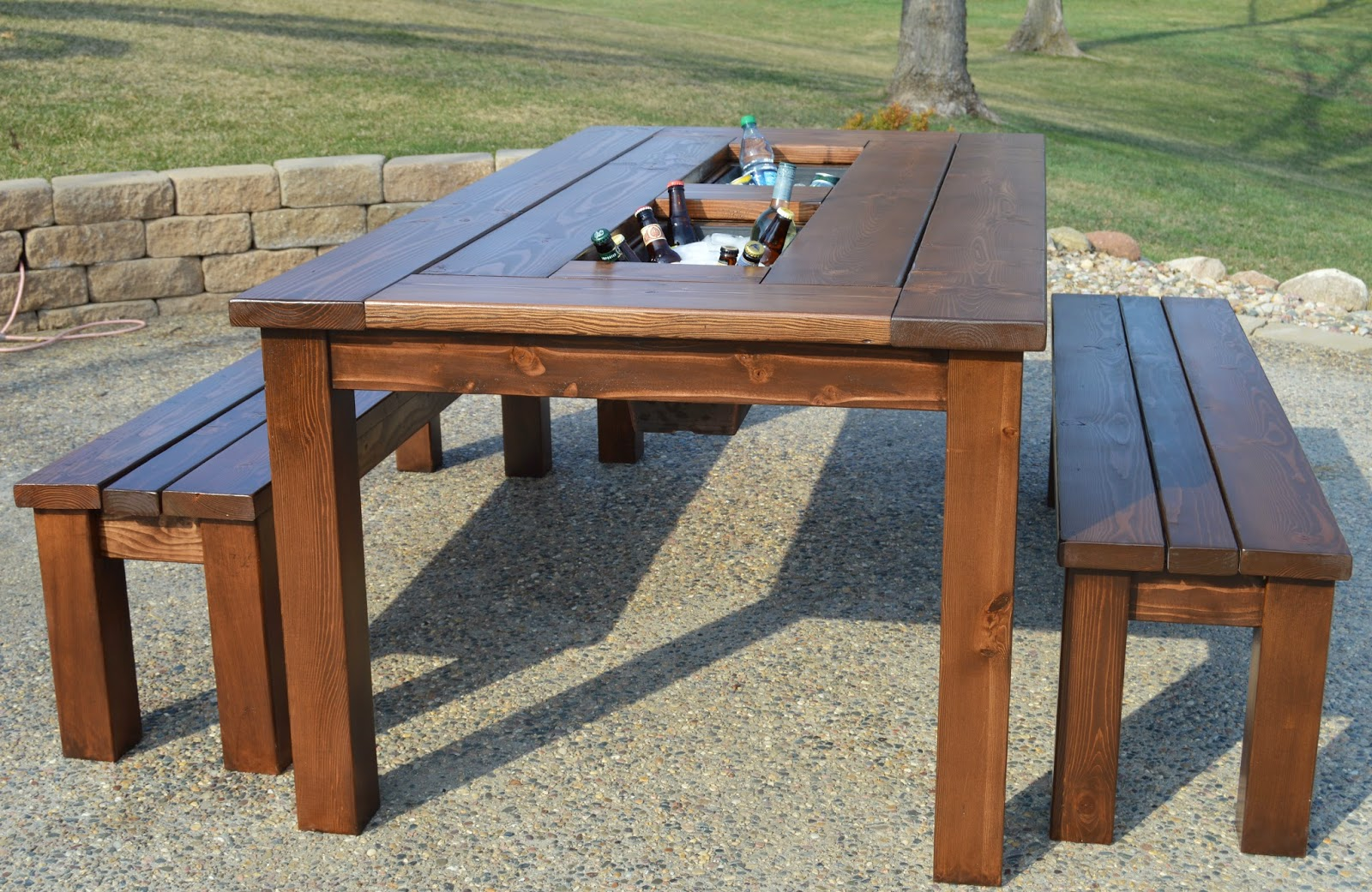Kruse 39 s workshop patio party table with built in beer for Outdoor patio table and chairs