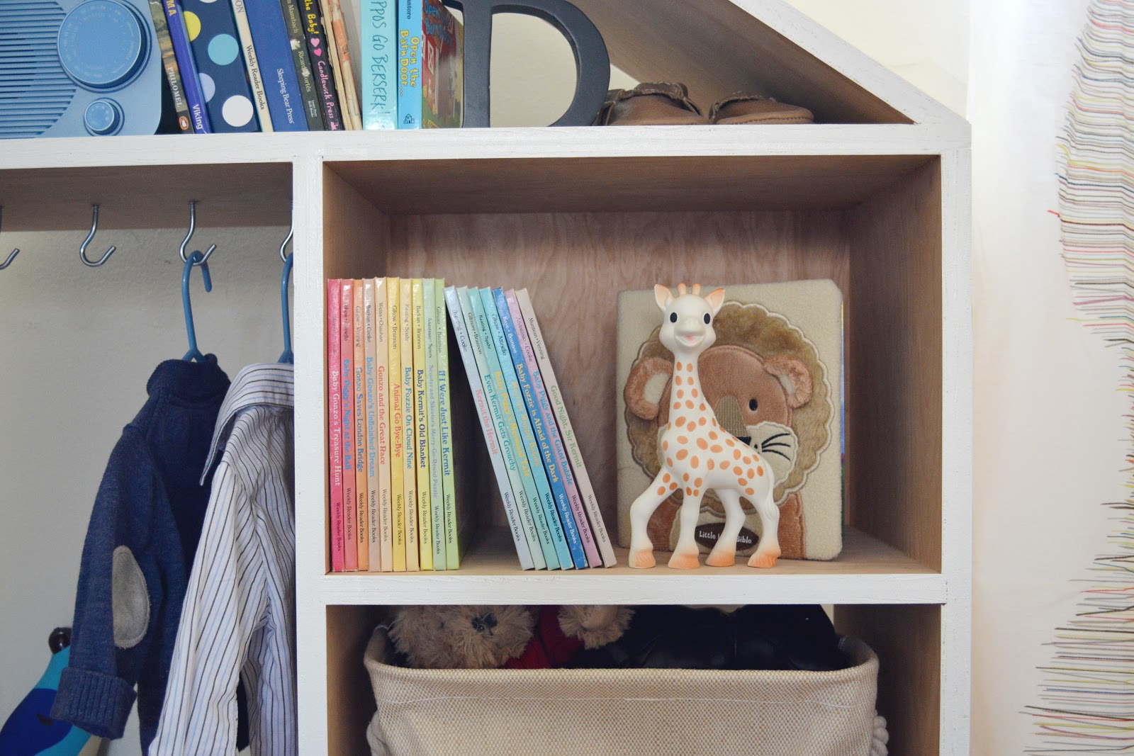 Ford's Baby Boy Nursery Bookshelf Detail - Interior Design by Lesley Myrick, Pasadena Interior Designer