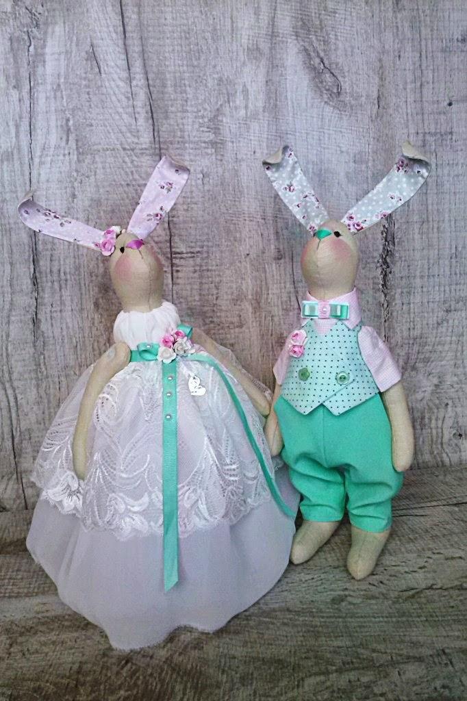 свадебные зайки, кролики на свадьбу, молодожены, зайцы тильда , пара заев