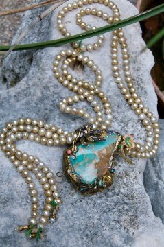 Fresh water pearl lariat necklace with HUGE hand wrapped Turquoise piece!!!!