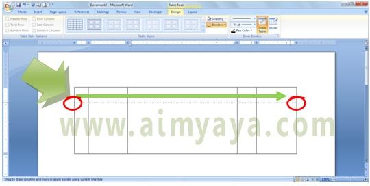 Gambar: Cara membuat / menambah baris tabel menggunakan draw table di microsoft word