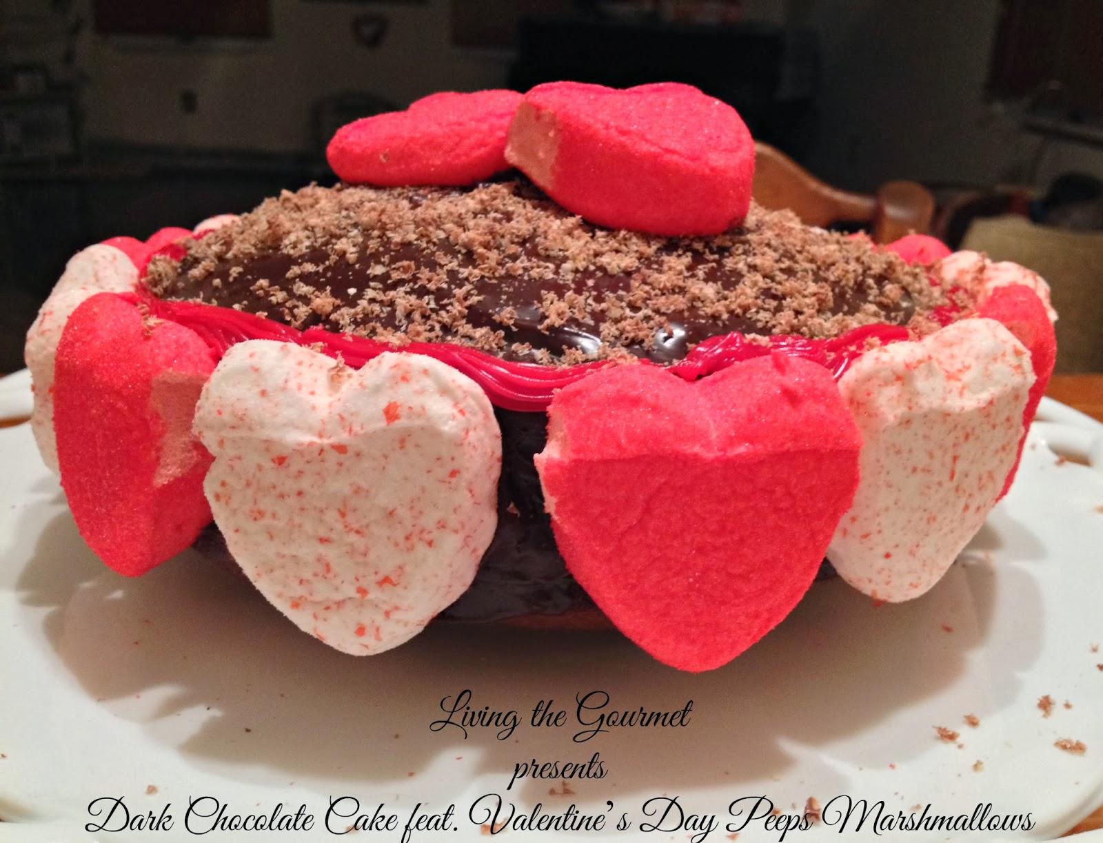 Dark Chocolate Cake Featuring Valentineu0027s Day Peeps Marshmallows