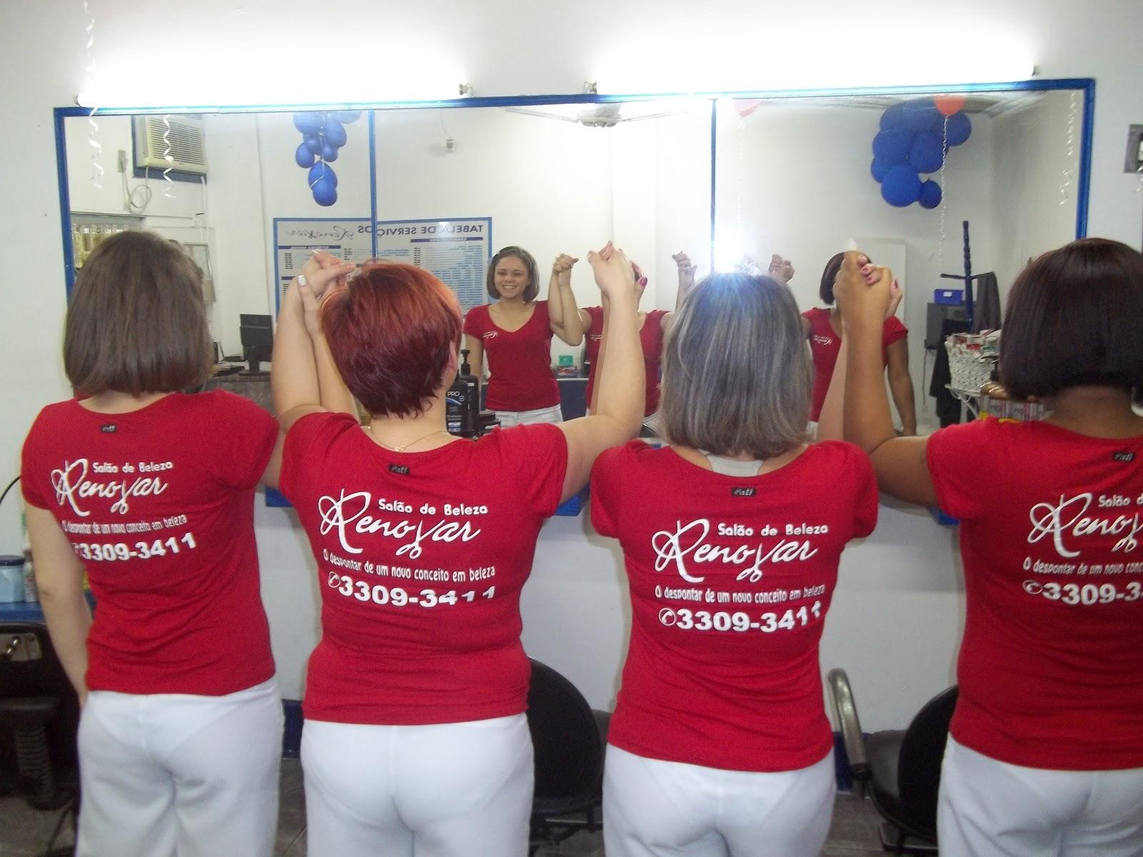 Salao renovar comemora anos e para homenagear os clientes estamos com uniforme novo
