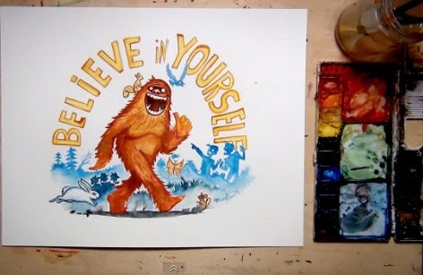 Water Color Painting Bigfoot