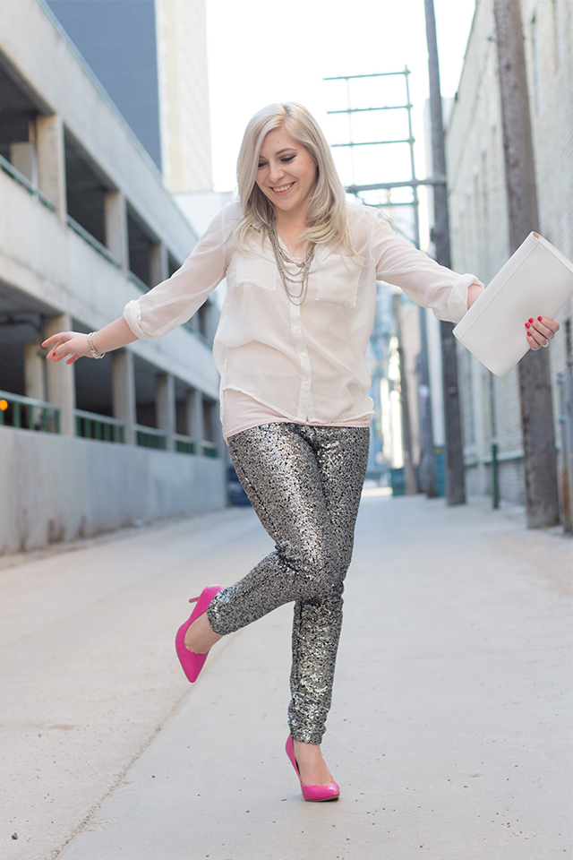 Fun date night outfit with sequinned pants.