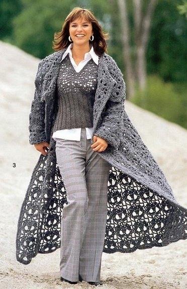 Вязаные пальто и кардиганы со схемами.  Комментарии.