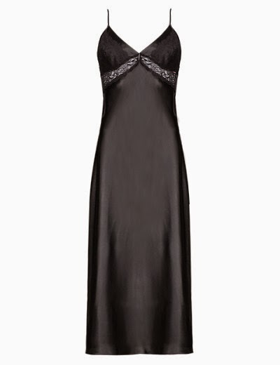 Nightdress black satin