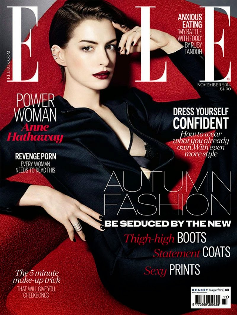 Anne Hathaway is seductive for the Elle UK November 2014 issue