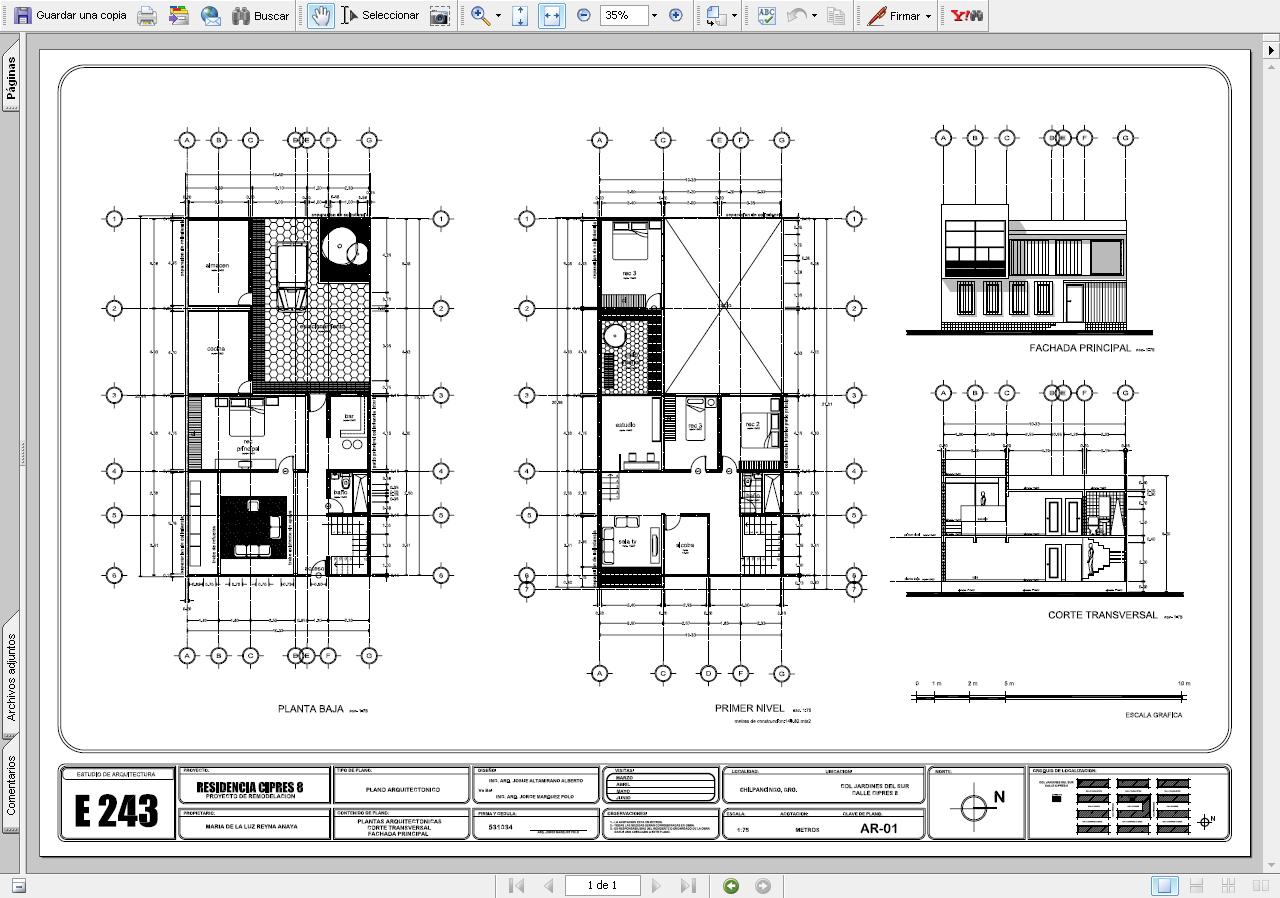 Planos arquitectonicos sena vistas for Pie de plano arquitectonico pdf