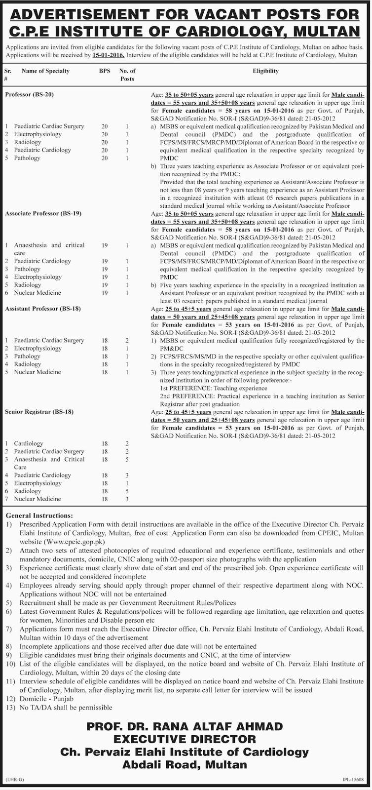 Doctors Jobs in C.P.E Institute of Cardiology Multan