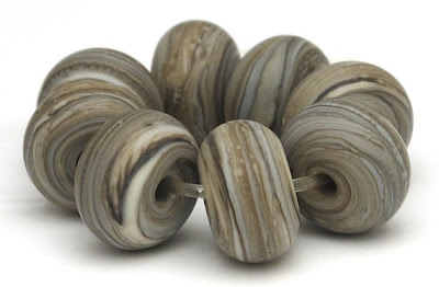 Etched Dark Fossil Lampwork Spacer Beads