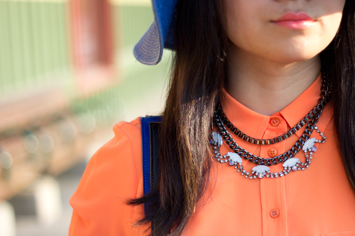 statement-necklace, joe-fresh-bright-orange-blouse, summer-look