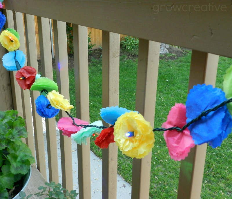 DIY Tissue Paper Flower Party Lights:  Tutorial by Grow Creative