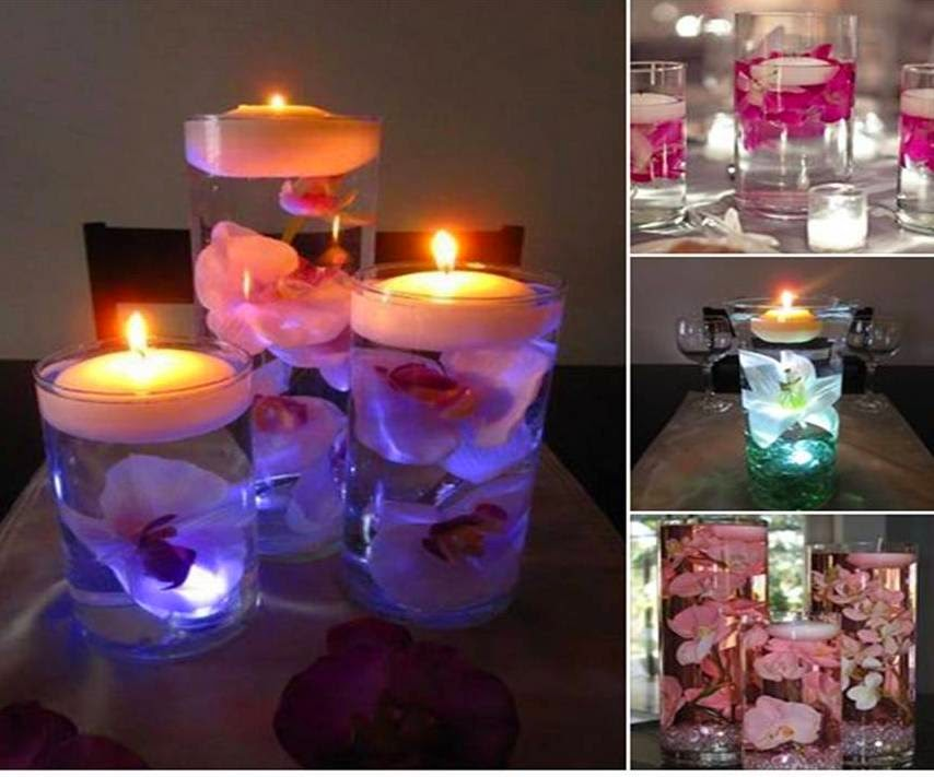 home decor romantic floating water candles with flowers