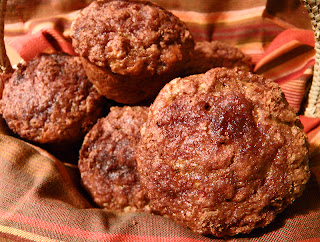 Closeup of a basket of Applesauce Oatmeal Muffins