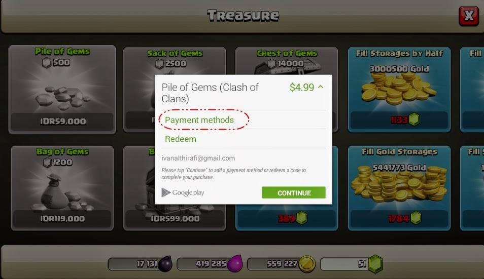 Cara Membeli Gems COC Lewat Pulsa Indosat atau Google Gift Card