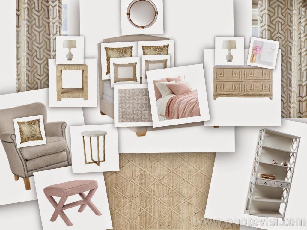 peaceful home decor blush and gold guest room inspiration. Black Bedroom Furniture Sets. Home Design Ideas