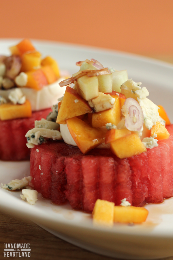 Watermelon, Peach & Cucumber Salad, delicious side or light lunch  HandmadeintheHeartland.com