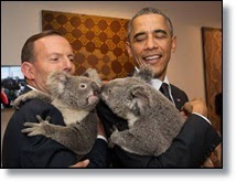 Picture of President Obama holding a koala bear