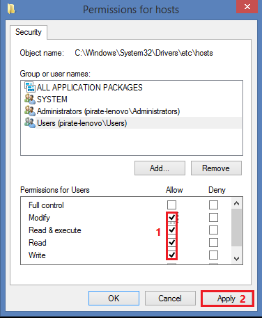how to change write permissions on system32
