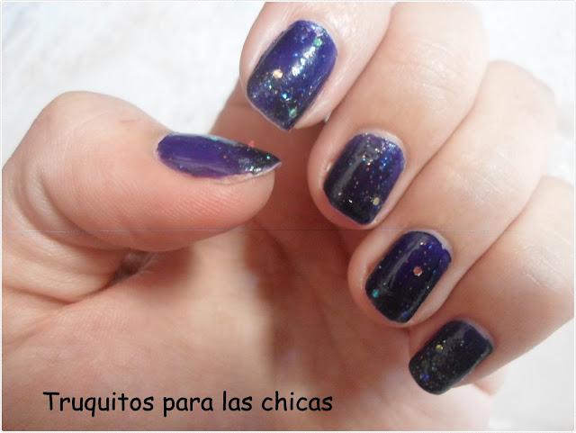 manicura lila brillos