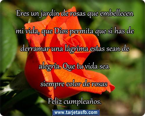 para Amor y Amistad: Tarjetas de rosas con frases de cumpleaños para