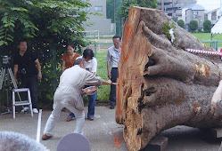 彫刻制作初日 ナタ入れ式