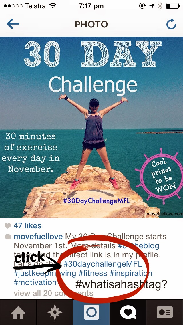 30 day challenge, fitness inspiration, motivation, win, giveaway, garmin, run, walk, swim, cycle, yoga, #30DayChallengeMFL, move fuel love, exercise, November challenge , hashtags explained