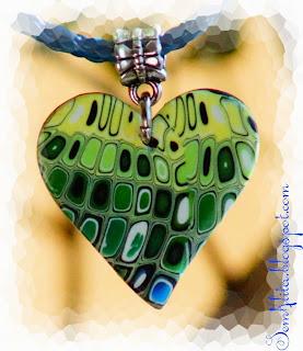 кулон сердечко полимерная глина