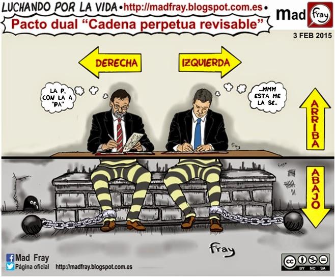 Viñeta: El PSOE pacta con el gobierno la cadena perpetua revisable, que dijo que no iba a firmar, Bipolaridad, dualidad y bipartidismo