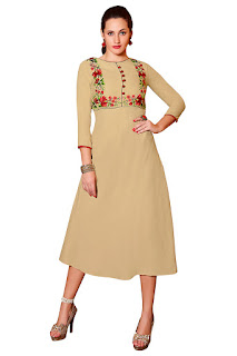 Beige Linen Party Wear Kurti