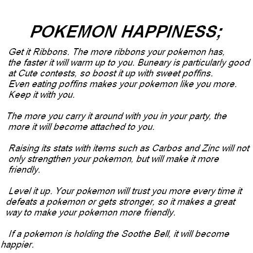 how to get hapinees for pokemon