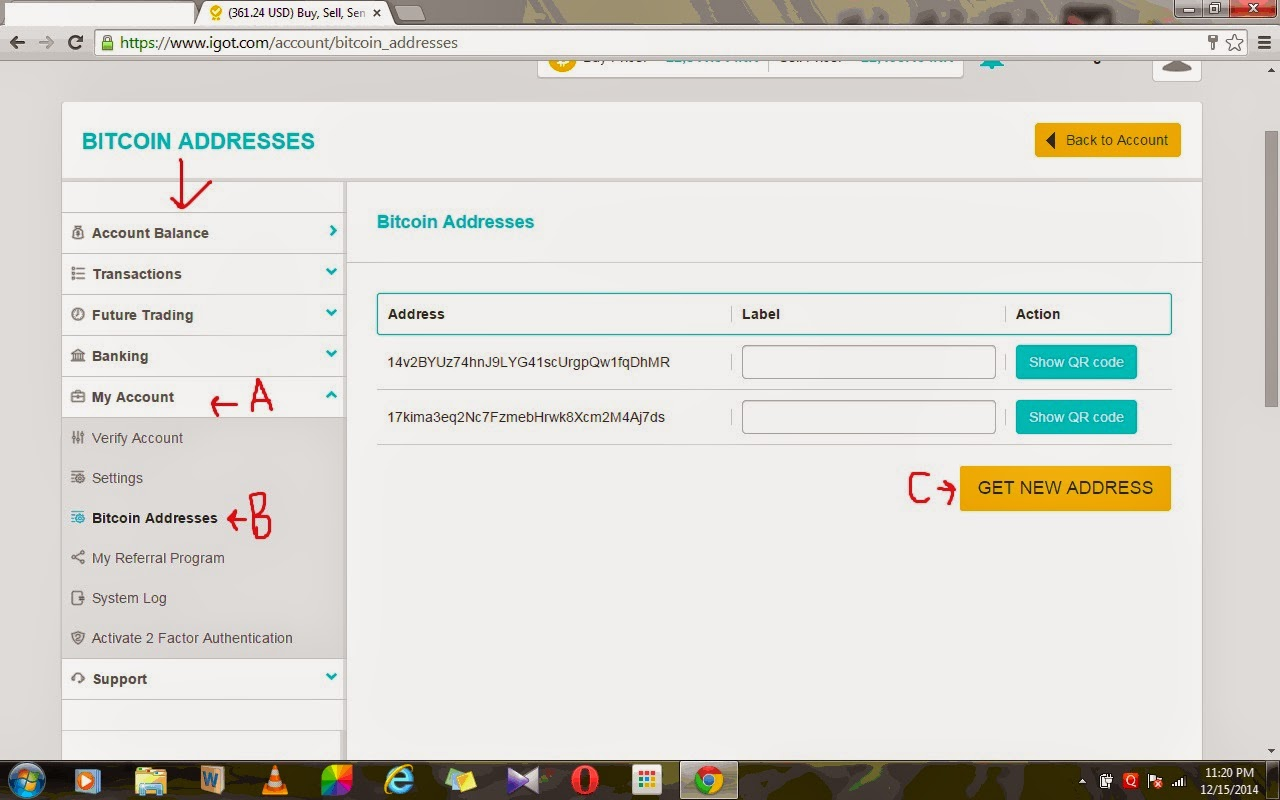 How to earn money online in india then click on my account in the extreme left and choose bitcoin address then click on get new address ccuart Images
