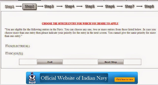 Selecting entry type of Indian Navy exam