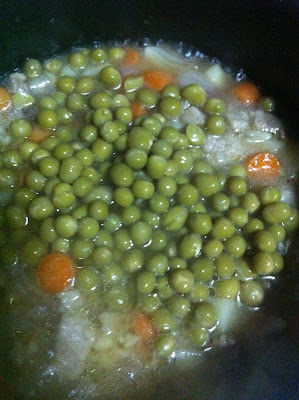 put the guisantes or green peas. Last step: Put spaghetti sauce, tomato paste, salt and pepper .  Let it simmer for 2 mins and your done. Serve with hot rice.