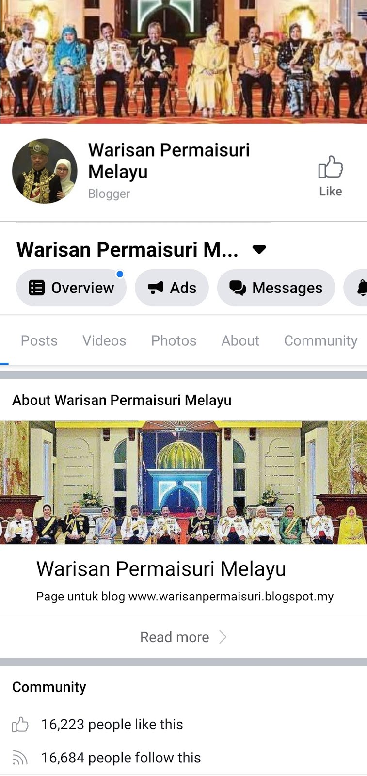 Facebook Page Warisan Raja & Permaisuri Melayu