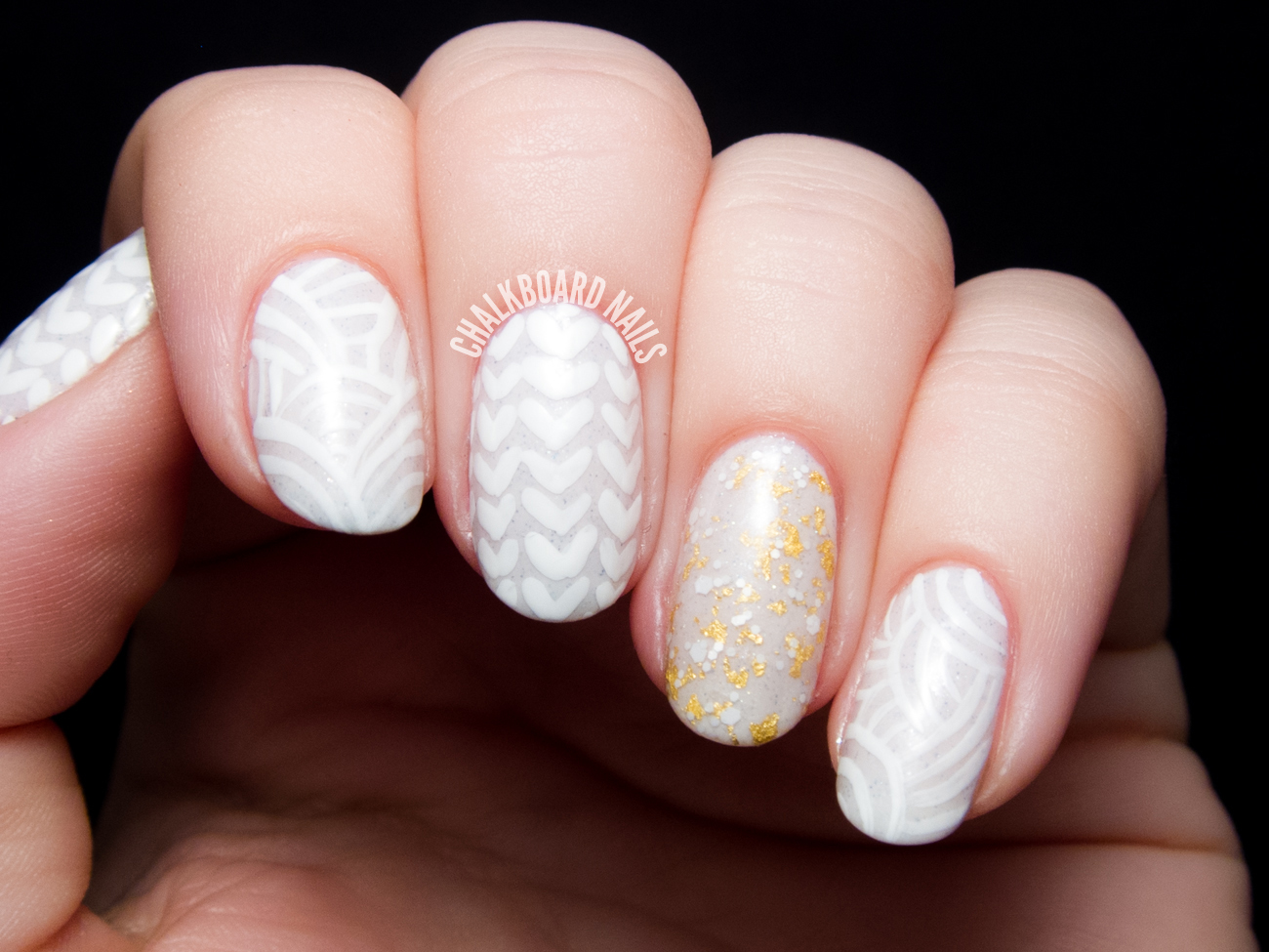 Chunky sweater nails by @chalkboardnails