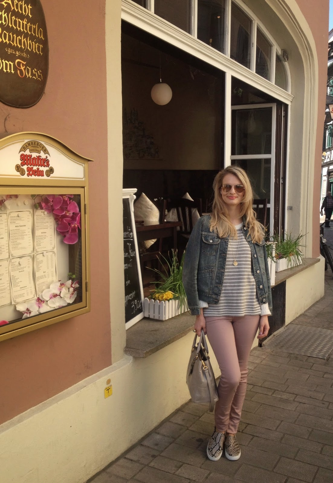 monica vinader, pink trousers, pink denim, prada bag, prada handbag, slip ons, hm slip ons, ray ban, aviator sunglasses