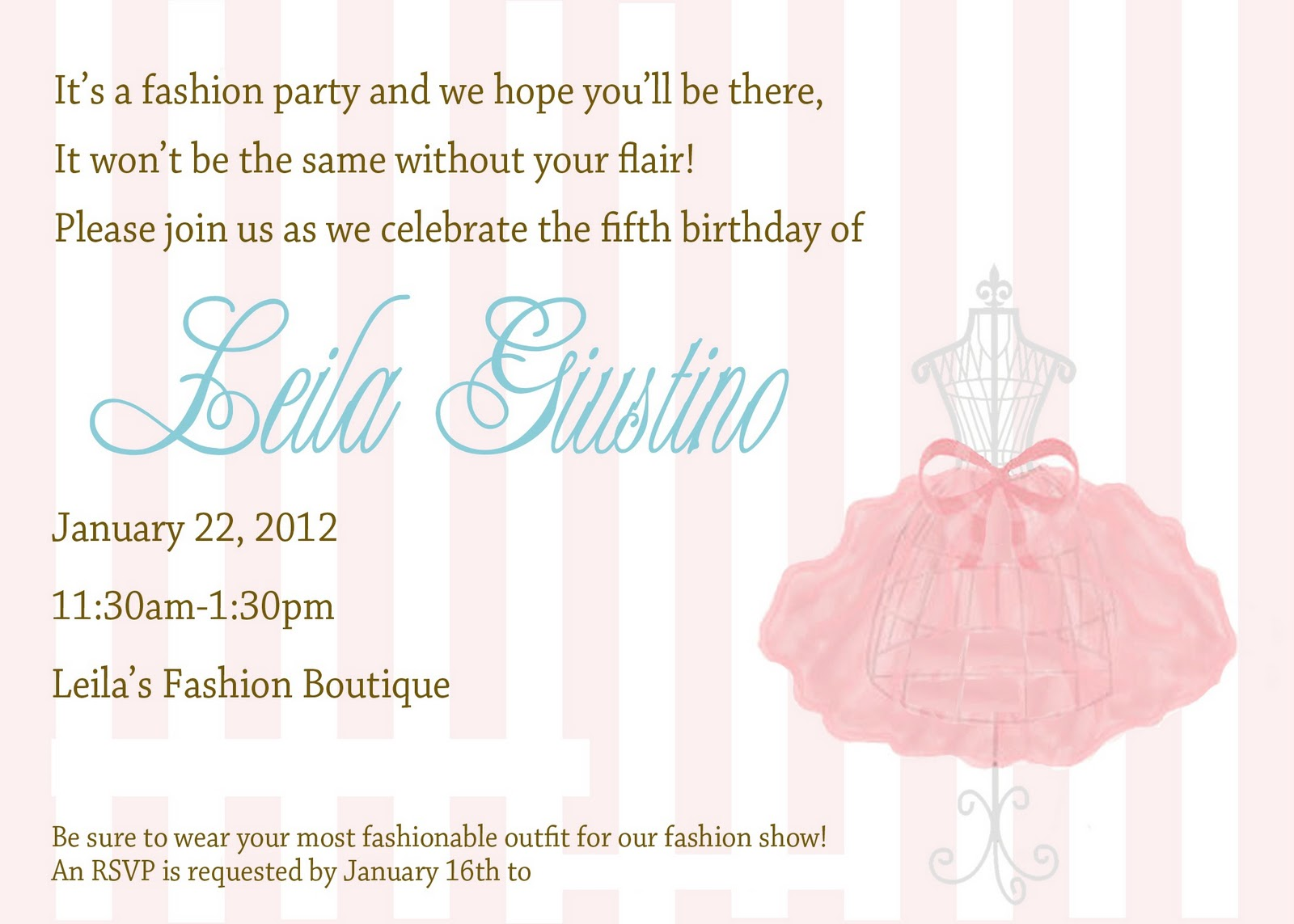 Heather Giustino Blog: Leila\'s Fashion Birthday Party