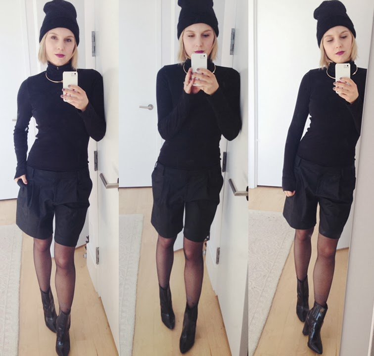 All black look, Splendid cotton knit turtleneck, Tibi culottes, Pour la Victoire patent leather boots, gold metal choker, NARS pure matte lipstick La Paz, American Apparel Beanie