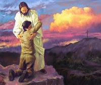 Foto de Jesus abraçando seu fiel