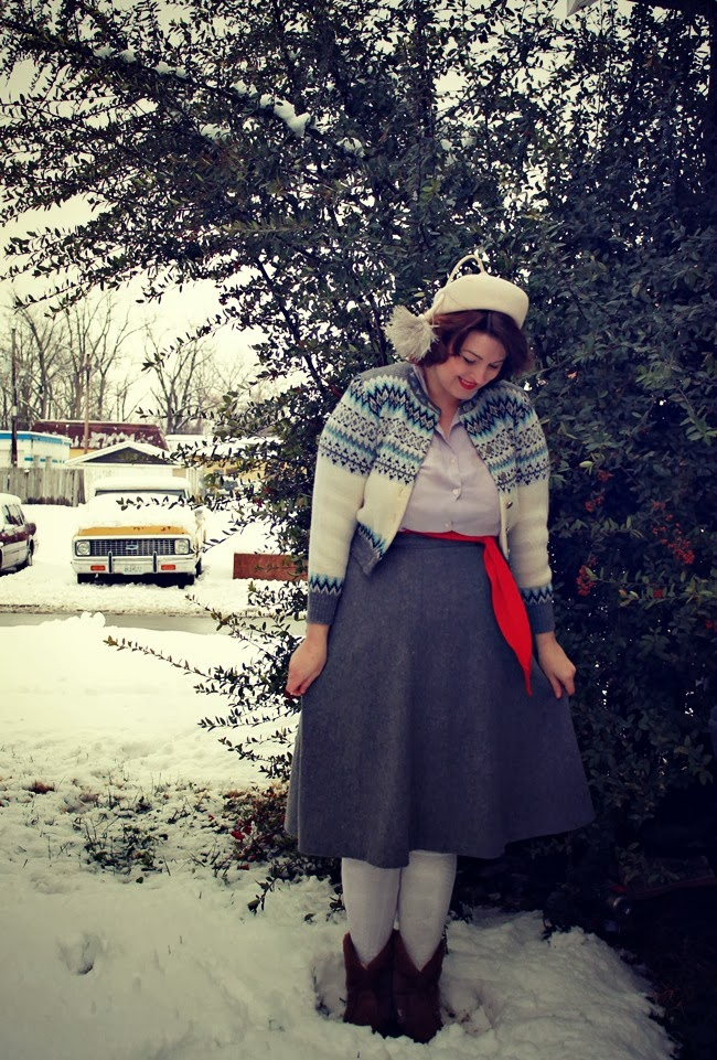 1950s winter wardrobe fairisle sweater, wool skirt, snowland boots