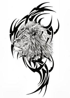 tribal-león-tatuaje-diseños