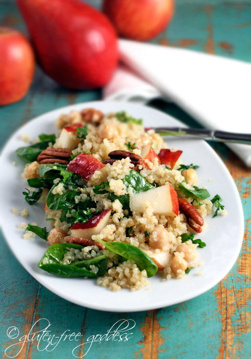 Gluten-free picnic salad recipes including this lovely quinoa salad with pears