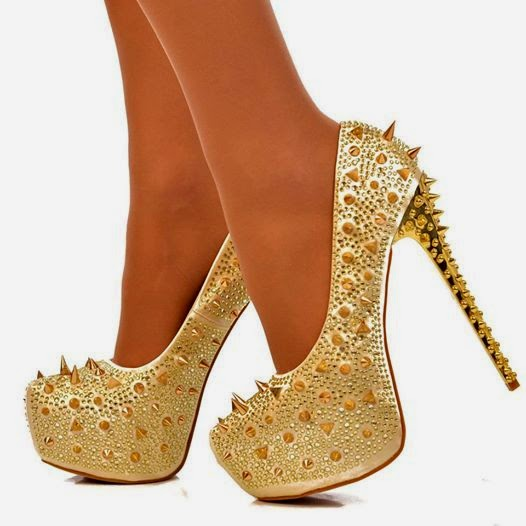pretty spike ankle high heel platform shoes fashion for ladies .